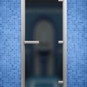Двери стеклянные в алюминиевой коробке для Хамама